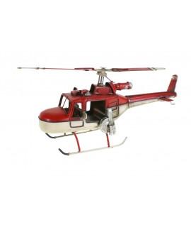 Réplique d'hélicoptère de chasse en rouge et blanc.