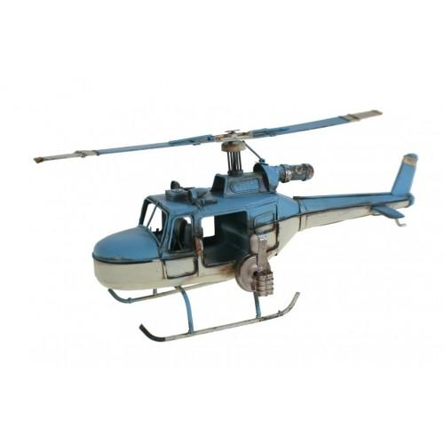 Replica de helicóptero de combate en color azul y blanco