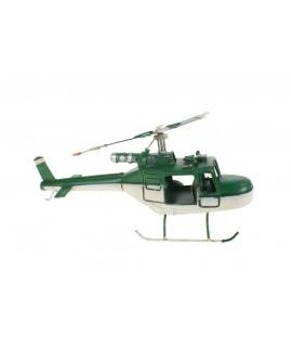 Rèplica d'helicòpter de combat en color verd i blanc