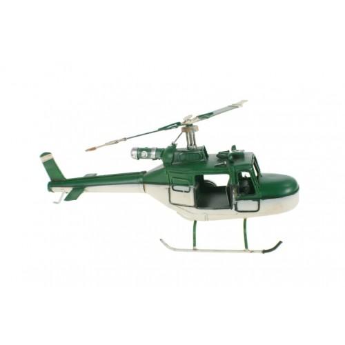 Replica de helicóptero de combate en color verde y blanco