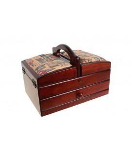 Cosidor entapissat de fusta color noguer