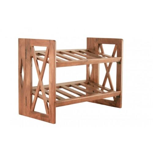 Zapatero plegable de madera maciza de acacia para 6 pares de zapatos. Medidas totales: 45x60x30 cm.