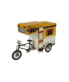 Rèplica de moto amb caravana estil vintage de color groc