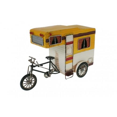 Réplica de moto con caravana estilo vintage de color amarillo