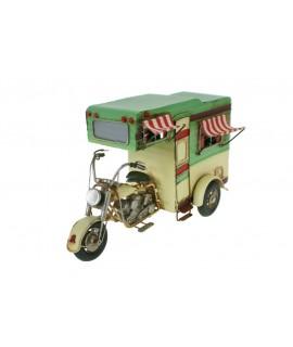 Réplica de moto con caravana estilo vintage de color verde