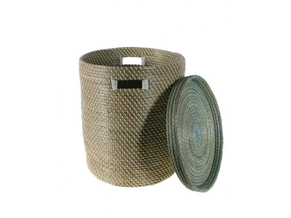 Grand panier de rangement en fibre naturelle avec couvercle. 50xØ44 cm