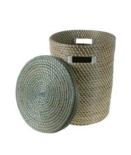 Panier de rangement en fibre avec couvercle
