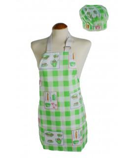 Davantal infantil amb gorra de cuina, de color verd