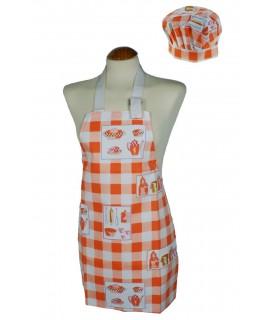 Davantal infantil amb gorra de cuina, de color taronja
