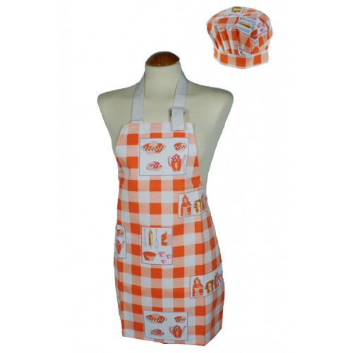Delantal infantil con gorro para cocina de color naranja