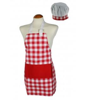 Davantal infantil amb gorra de cuina, de color vermell