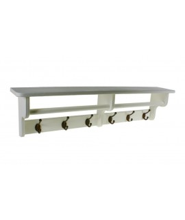Penjador penjador barreter de paret 6 ganxos fusta color blanc decoració llar