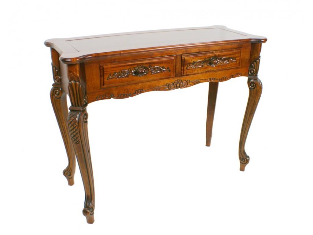 Consola de fusta amb talla de color roure estil clàssic
