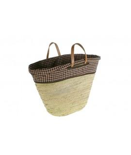 Cabàs cistella de la compra amb nanses de cuir i folre de tela de farcell.