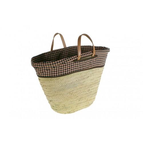 Capazo cesta de la compra con asas de cuero y forro de tela de fardo.