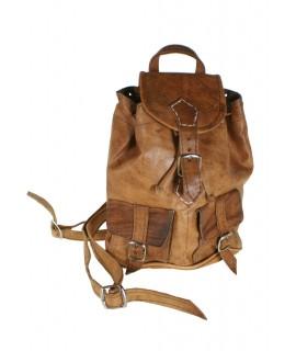 Bolso mochila pequeña de piel color marrón