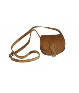 Petit sac à bandoulière en cuir croissant de lune marron