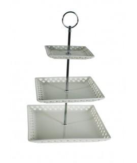Fruiter tres pisos o plat de presentació. Parament de taula.