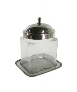 Pot en verre avec couvercle et plateau en métal