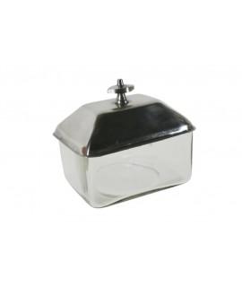 Boîte à urne en verre avec couvercle en argent