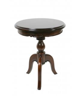 Mesa velador de caoba con talla
