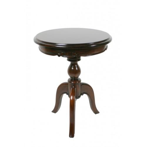 Mesa auxiliar velador de madera maciza de caoba con talla estilo clásico