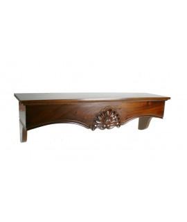 Support allongé avec sculpture en bois d'acajou massif