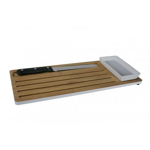 Tabla de cortar pan en madera de bambú con accesorio de cuchillo