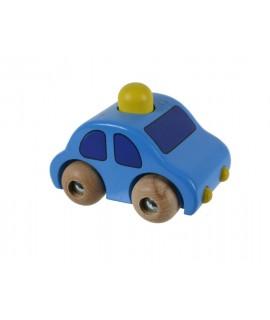 Cotxe blau de fusta amb clàxon