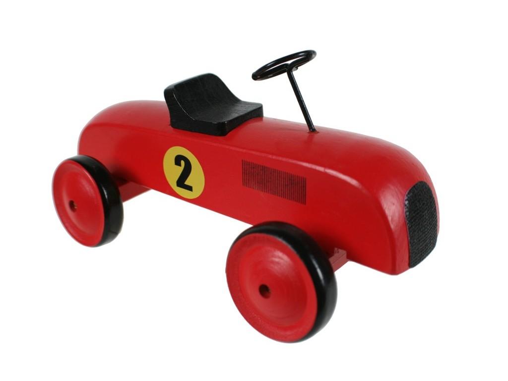 Coche de carreras en madera color rojo