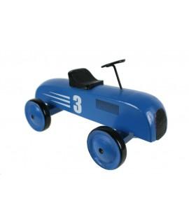 Voiture en bois de couleur bleue avec numéro