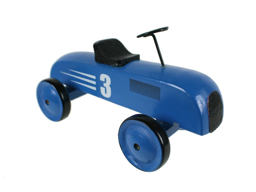 Coche madera color azul con número