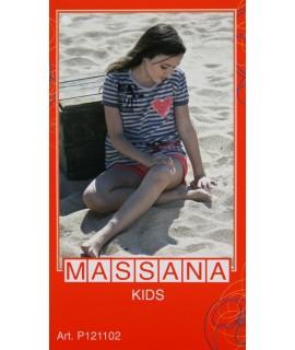 Pyjama fille Massana été pantalon court gris taille 14