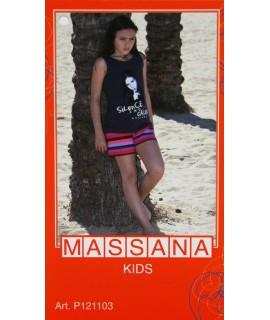 Pijama de nena Massana estiu pantalons curts color carbó talla 18