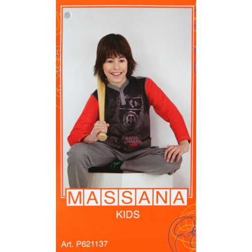Pijama para niño Massana de invierno pantalón largo color gris con estampado talla 18
