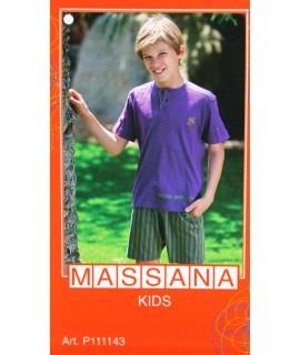 Pijama para niño Massana de verano pantalón corto color morado con estampado. Talla 16