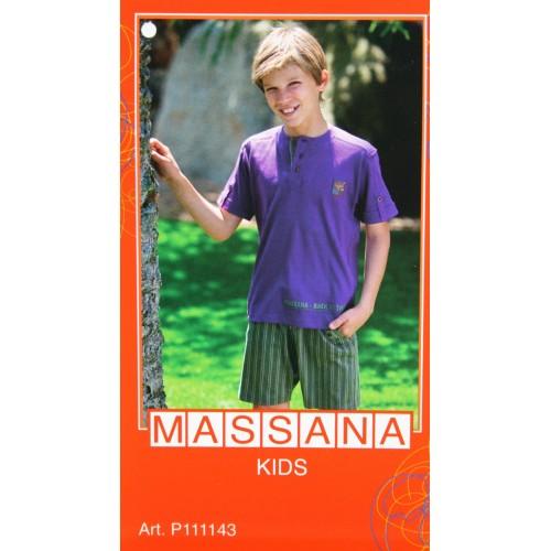 Pijama para niño Massana de verano pantalón corto color morado con estampado talla 16