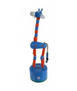 Girafe en bois bleue à resserrer et à bouger