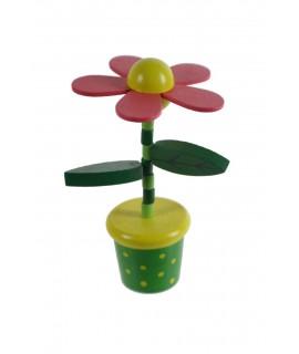 Flor de madera para apretar. Medidas: 12xØ7 cm.