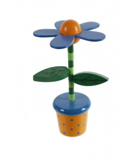Flor de madera de color azul para apretar y obtener movimiento.