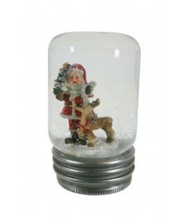 Bola de nieve con Papa Noel y reno