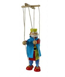 Títere de cuerda de madera figura rey