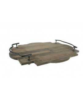 Bandeja o centro de mesas  de madera natural con asas estilo vintage