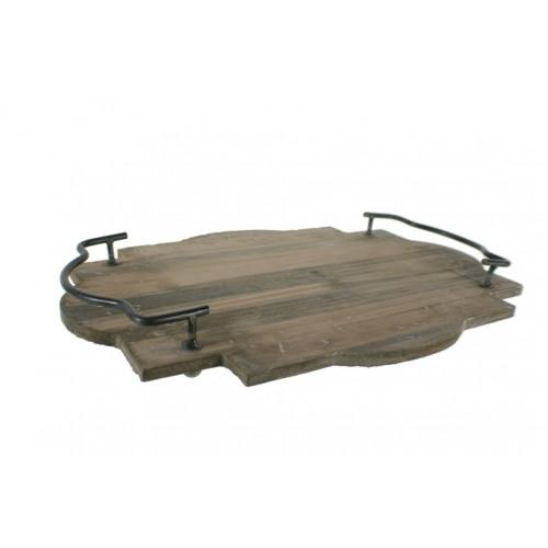 Safata o centre de taules de fusta natural amb anses estil vintage