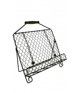 Pupitre en métal avec grille et manche en bois pour le transport