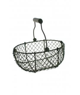 Dispensador cesta huevera de alambre con asa abatible de estilo rústico y de amplio acceso a su interior ideal para regalo menaj