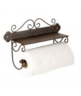 Portarrollos de papel cocina de pared en metálico estilo rustico