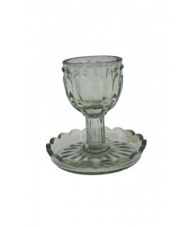Palmatoria de vidre en forma de copa per a vela llarga
