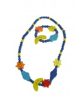 Pulsera y collar de madera para niña de color azul con estrella y luna