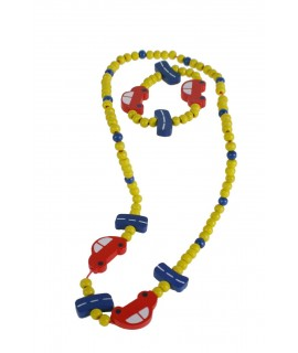 Bracelet et collier en bois jaune pour fille avec voiture